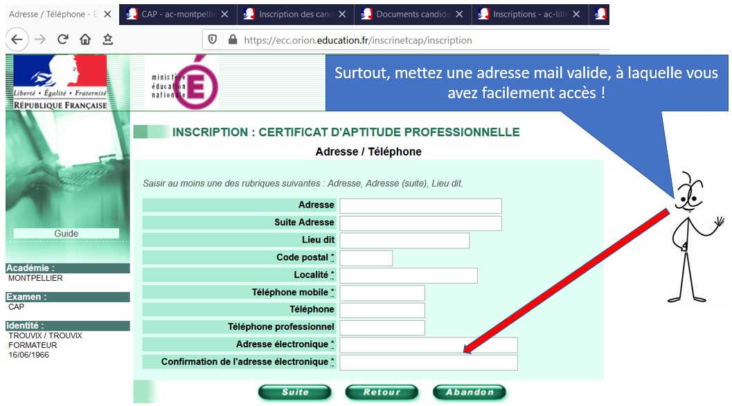 Identite candidat CAP AEPE