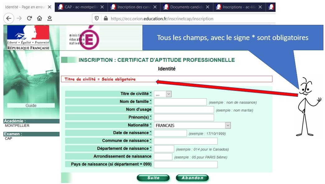 Formulaire d'inscription au CAP AEPE
