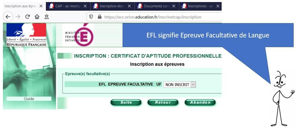 que signifie EFL pour une inscription CAP
