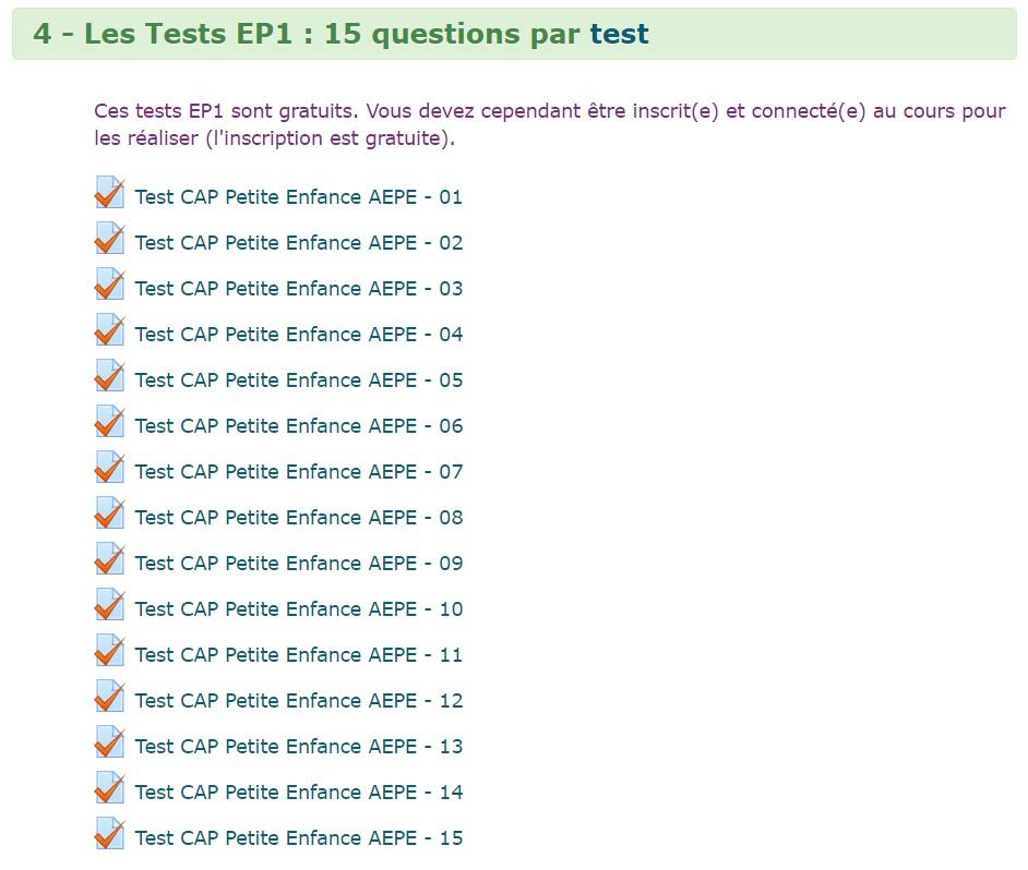 225 tests qcm quizz EP1 cap petite enfance gratuits