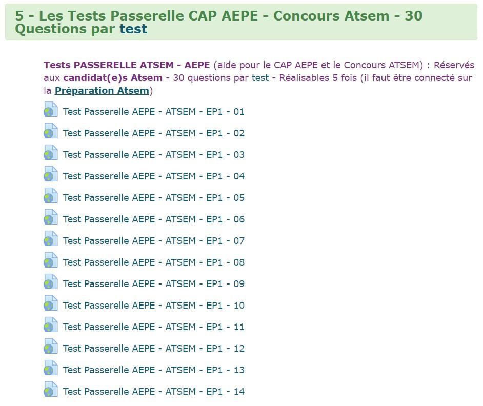 450 tests qcm quizz EP1 offerts avec la prepa atsem